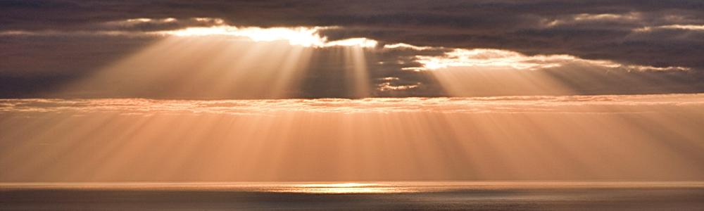 Goldene Sonnenstrahlen symbolisieren die Arbeit des Bestattungsdienstes Laufer